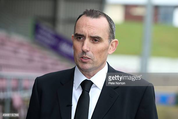 New Northampton Town owner Kelvin Thomas poses during a Press Conference to announce his takeover of the club at Sixfields on November 26 2015 in...