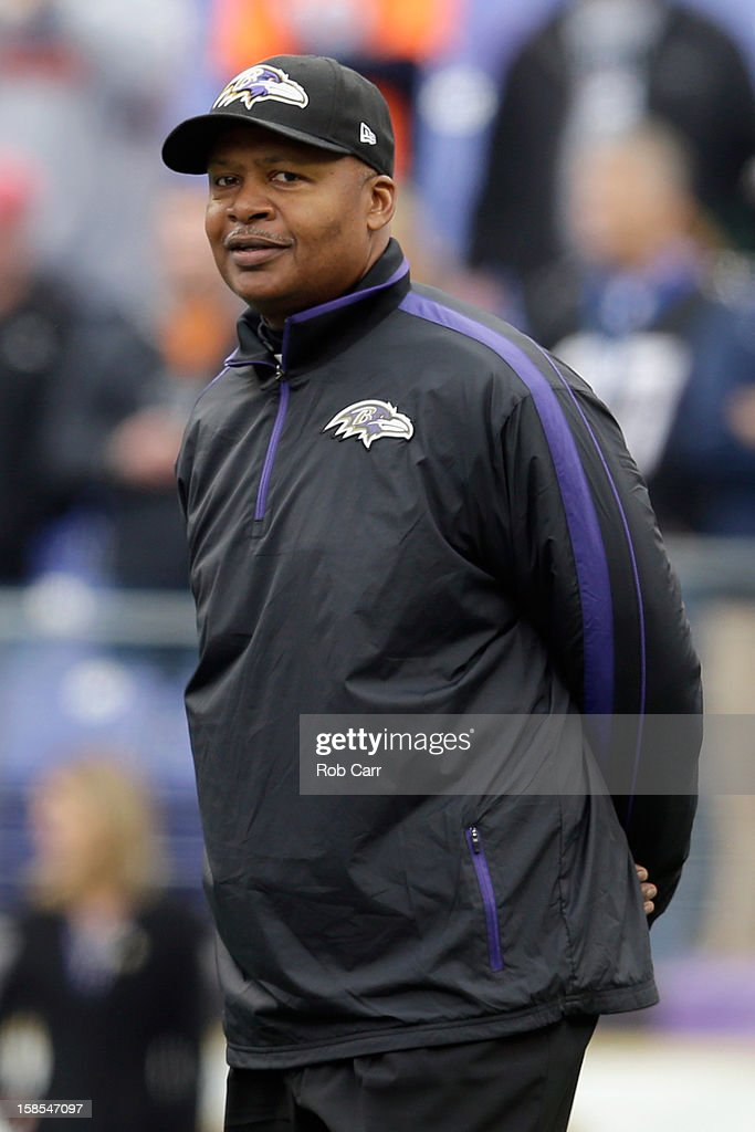 New offensive coordinator <a gi-track='captionPersonalityLinkClicked' href=/galleries/search?phrase=Jim+Caldwell&family=editorial&specificpeople=2108069 ng-click='$event.stopPropagation()'>Jim Caldwell</a> of the Baltimore Ravens watches the team warm up before the start of the Ravens game against the Denver Broncos at M&T Bank Stadium on December 16, 2012 in Baltimore, Maryland.