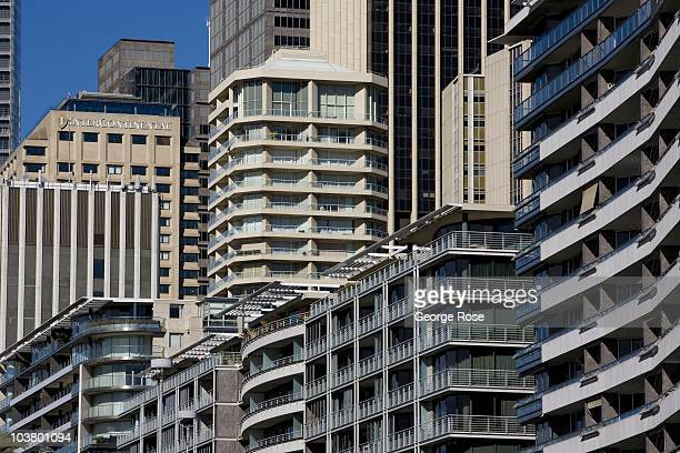 New office buildings and condominiums in the Circular Quay area of downtown are viewed on August 10 2010 Sydney Australia Sydney a major destination...