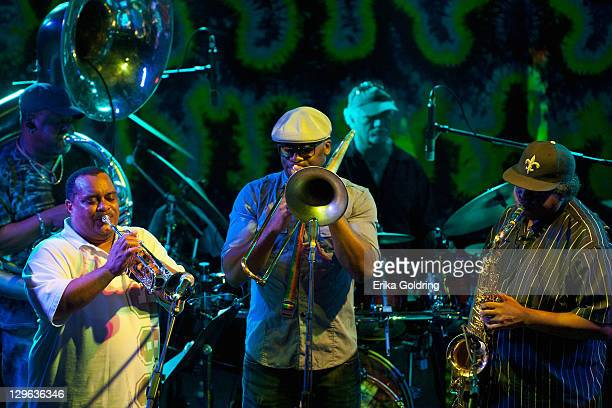 New Olreans sousaphone player Kirk Joseph Efrem Towns of Dirty Dozen Brass Band Sam Williams of Big Sam's Funky Nation and Kevin Harris of Dirty...