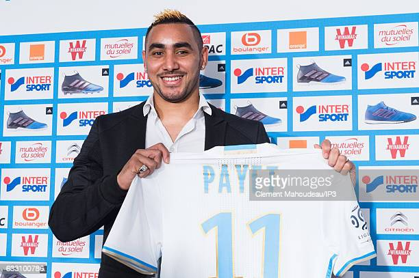 New Olympique de Marseille player Dimitri Payet answers journalists' questions during a press conference at the Robert Louis Dreyfus stadium on...