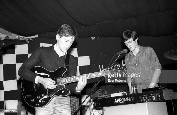 Photo of New Order Ian Kevin Curtis and Bernard Sumner of New Order performing at Hurrah's in New York City on September 29 1980