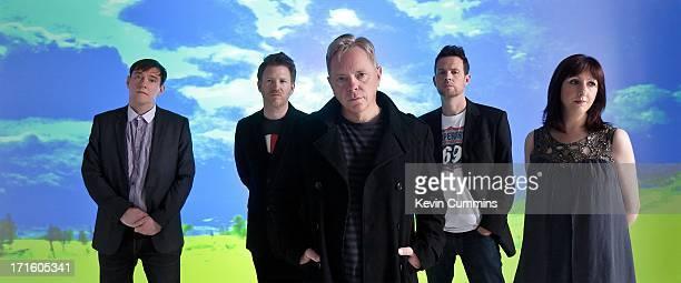 New Order pose for a studio group portrait UK 22nd September 2011 Left to right Stephen Morris Phil Cunningham Bernard Sumner Tom Chapman and Gillian...