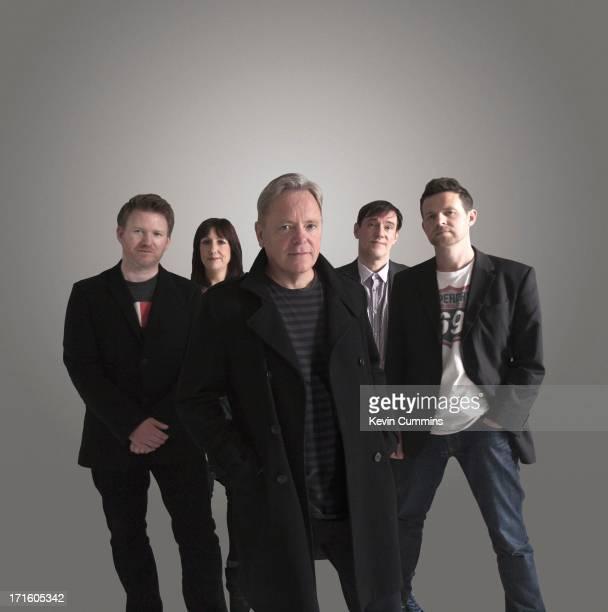 New Order pose for a studio group portrait UK 22nd September 2011 Left to right Phil Cunningham Gillian Gilbert Bernard Sumner Stephen Morris and Tom...