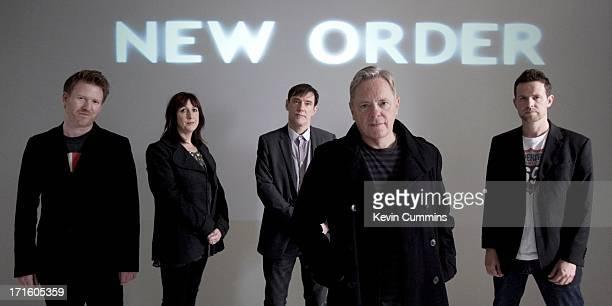 New Order pose for a studio group portrait UK 22nd September 2011 Left to right Phil Cunningham Gillian Gilbert Stephen Morris Bernard Sumner and Tom...
