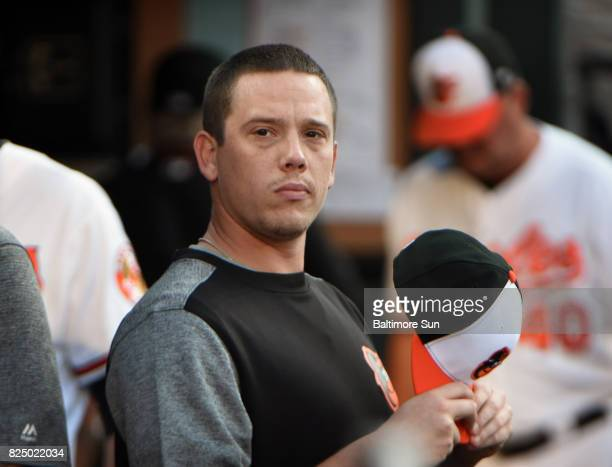 New Orioles' player Jeremy Hellickson is pictured in the dugout during game against the Royals July 31 2017 in Baltimore Md The Orioles arquired...