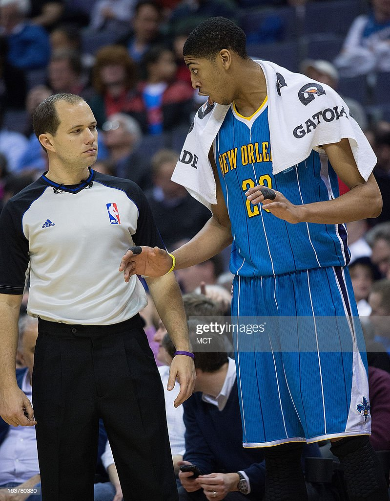 New Orleans Hornets power forward Anthony Davis questions a call to referee John Goble during the second half of their game against the Washington...