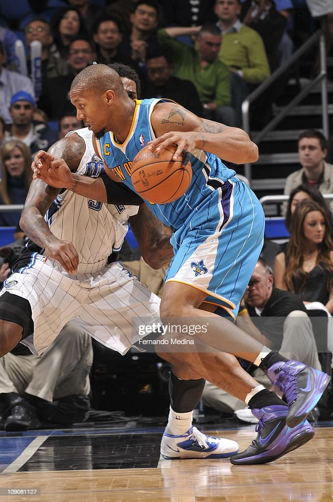 New Orleans Hornets power forward David West drives to the basket during the game against the Orlando Magic on February 11 2011 at the Amway Center...
