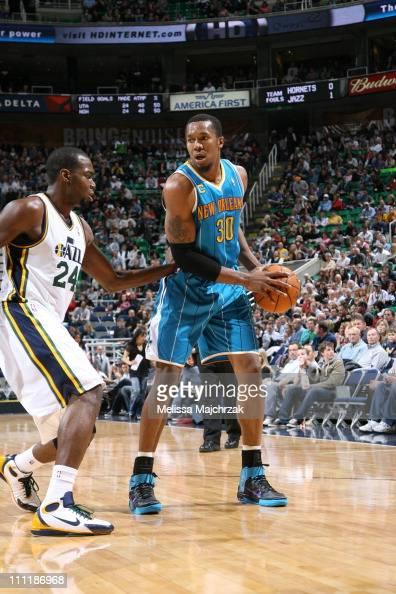 New Orleans Hornets power forward David West protects the ball during the game against the Utah Jazz at EnergySolutions Arena on March 24 2011 in...