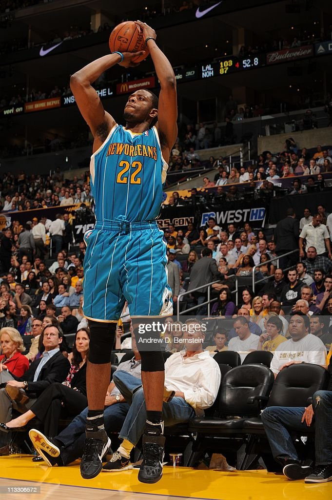 New Orleans Hornets small forward <a gi-track='captionPersonalityLinkClicked' href=/galleries/search?phrase=Patrick+Ewing+Jr.&family=editorial&specificpeople=2551108 ng-click='$event.stopPropagation()'>Patrick Ewing Jr.</a> #22 goes for a jump shot during their action against the Los Angeles Lakers in Game Five of the Western Conference Quarterfinals in the 2011 NBA Playoffs at Staples Center on April 26, 2011 in Los Angeles, California. The Lakers won 106-90.