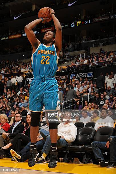 New Orleans Hornets small forward Patrick Ewing Jr #22 goes for a jump shot during their action against the Los Angeles Lakers in Game Five of the...
