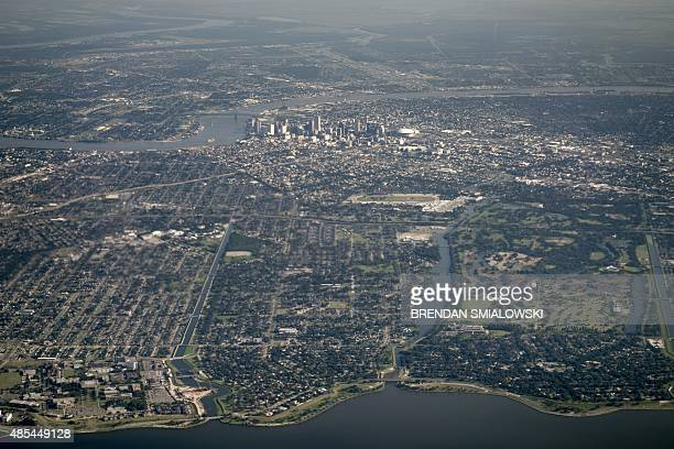 New Orleans is seen from Air Force One after departing Louis Armstrong International Airport on August 27 2015 in New Orleans Louisiana US President...