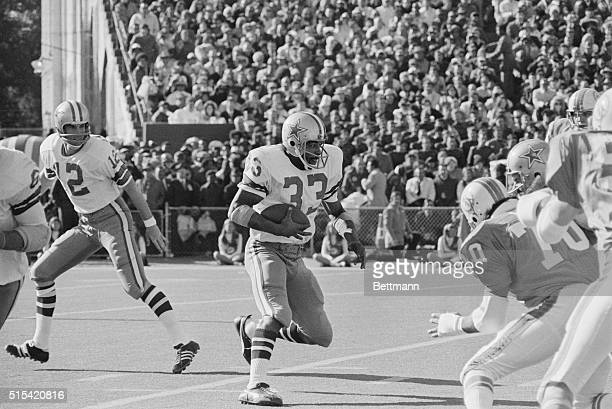 New Orleans Louisiana Duane Thomas Dallas Cowboys heads for the line after taking a handoff from quarterback Roger Staubach during game against Miami