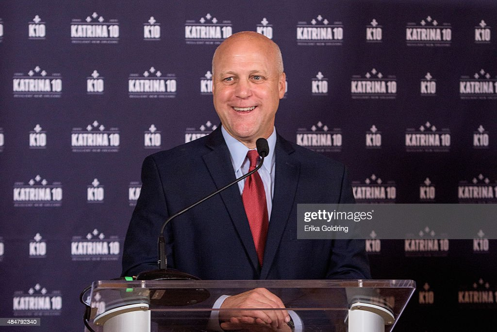 New Orleans Mayor <a gi-track='captionPersonalityLinkClicked' href=/galleries/search?phrase=Mitch+Landrieu&family=editorial&specificpeople=626024 ng-click='$event.stopPropagation()'>Mitch Landrieu</a> addresses media at the 'Before.During.After' forum press conference commemorating the 10th Anniversary of Hurricane Katrina to support disaster recovery and resiliency efforts wordlwide on August 21, 2015 in New Orleans, United States.