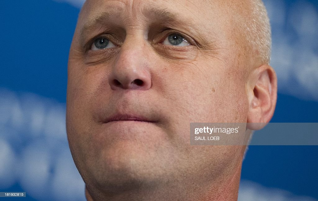 New Orleans Mayor Mitch Landrieu speaks about ways to reduce US murder and gun violence rates and other issues affecting urban communities at the National Press Club in Washington, DC, September 26, 2013. AFP PHOTO / Saul LOEB