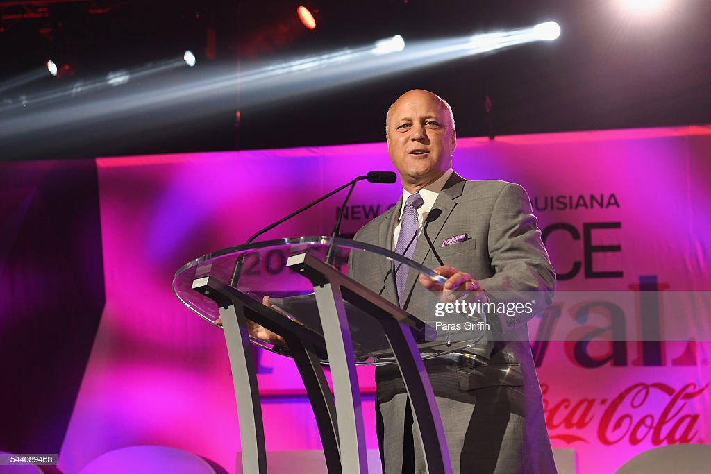 New Orleans Mayor <a gi-track='captionPersonalityLinkClicked' href=/galleries/search?phrase=Mitch+Landrieu&family=editorial&specificpeople=626024 ng-click='$event.stopPropagation()'>Mitch Landrieu</a> speaks onstage at the 2016 ESSENCE Festival Presented By Coca-Cola at Ernest N. Morial Convention Center on July 1, 2016 in New Orleans, Louisiana.