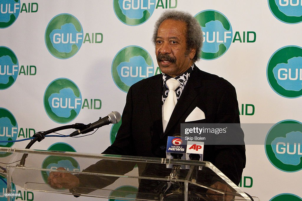 New Orleans musician Allen Toussaint speaks at a press conference at the GULF AID benefit concert at Mardi Gras World River City on May 16, 2010 in New Orleans, Louisiana.