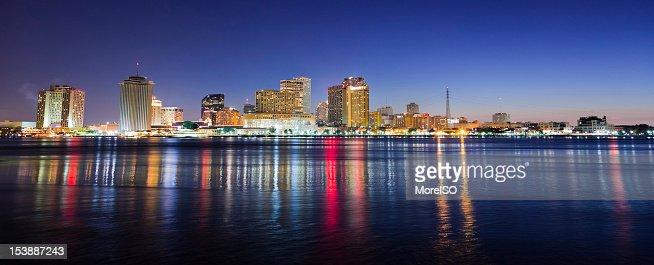 New Orleans Night Panorama Skyline : Stock Photo