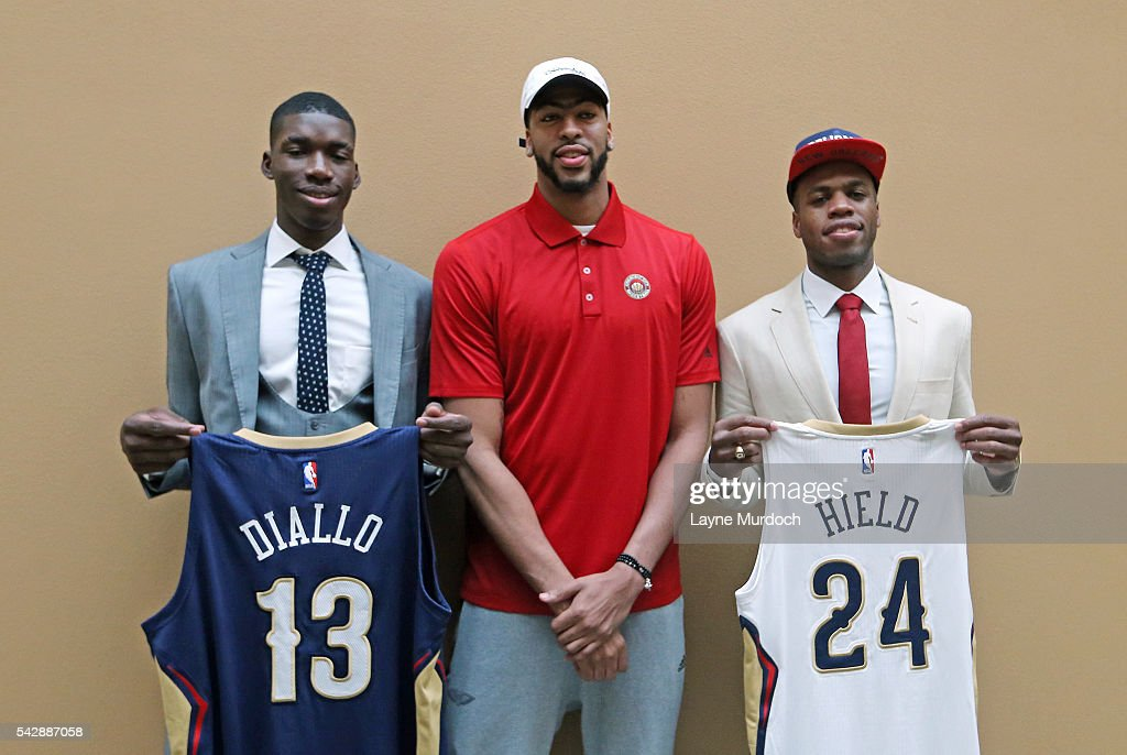 New Orleans Pelicans 2016 Draft selections <a gi-track='captionPersonalityLinkClicked' href=/galleries/search?phrase=Cheick+Diallo+-+Basketball+Player&family=editorial&specificpeople=14242656 ng-click='$event.stopPropagation()'>Cheick Diallo</a> and <a gi-track='captionPersonalityLinkClicked' href=/galleries/search?phrase=Buddy+Hield&family=editorial&specificpeople=9988395 ng-click='$event.stopPropagation()'>Buddy Hield</a> take a picture with <a gi-track='captionPersonalityLinkClicked' href=/galleries/search?phrase=Anthony+Davis+-+Basketball+Player&family=editorial&specificpeople=9539354 ng-click='$event.stopPropagation()'>Anthony Davis</a> #23 of the New Orleans Pelicans on June 24, 2016 at the New Orleans Practice Facility in New Orleans, Louisiana.