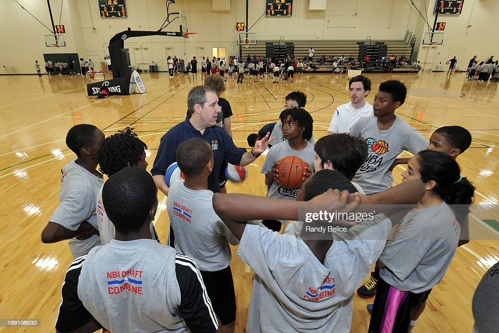 New Orleans Pelicans Assistant Coach Bryan Gates instructs participants of a NBA Cares Basketball Clinic as part of the 2013 NBA Draft Combine on May 18, 2013 at Quest Multiplex in Chicago, Illinois.