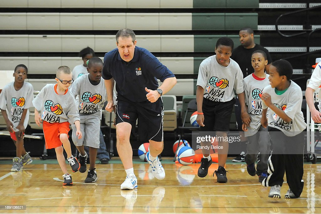 New Orleans Pelicans Assistant Coach Bryan Gates leads a drill during a NBA Cares Basketball Clinic as part of the 2013 NBA Draft Combine on May 18, 2013 at Quest Multiplex in Chicago, Illinois.