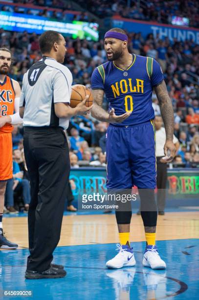 New Orleans Pelicans Center DeMarcus Cousins disagreeing with a call talks with the referee versus Oklahoma City Thunder on February 26 at the...