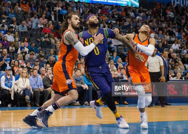 New Orleans Pelicans Center DeMarcus Cousins Oklahoma City Thunder Center Steven Adams Oklahoma City Thunder Guard Russell Westbrook get in position...
