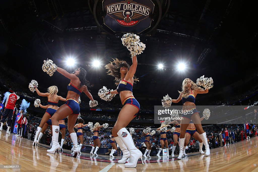 New Orleans Pelicans dance team performs before the game against the Philadelphia 76ers on November 16, 2013 at the New Orleans Arena in New Orleans, Louisiana.