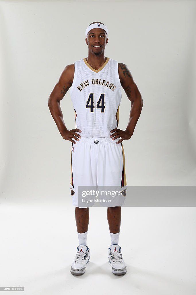 New Orleans Pelicans Dante Cunningham #44 poses for a portrait on February 26, 2015 at the New Orleans Practice Facility in New Orleans, Louisiana.