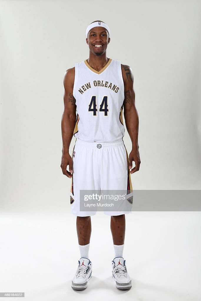 New Orleans Pelicans <a gi-track='captionPersonalityLinkClicked' href=/galleries/search?phrase=Dante+Cunningham&family=editorial&specificpeople=683729 ng-click='$event.stopPropagation()'>Dante Cunningham</a> #44 poses for a portrait on February 26, 2015 at the New Orleans Practice Facility in New Orleans, Louisiana.