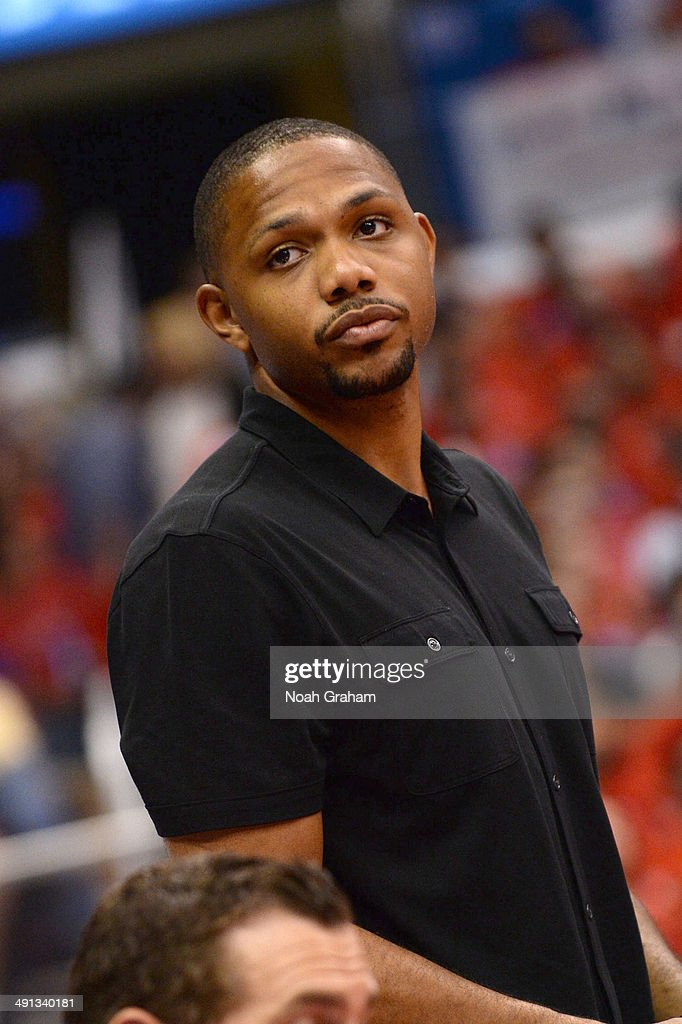 New Orleans Pelicans guard <a gi-track='captionPersonalityLinkClicked' href=/galleries/search?phrase=Eric+Gordon+-+Basketball+Player&family=editorial&specificpeople=4212733 ng-click='$event.stopPropagation()'>Eric Gordon</a> attends Game Six of the Western Conference Semifinals between the Oklahoma City Thunder and the Los Angeles Clippers during the 2014 NBA Playoffs at Staples Center on May 15, 2014 in Los Angeles, California.
