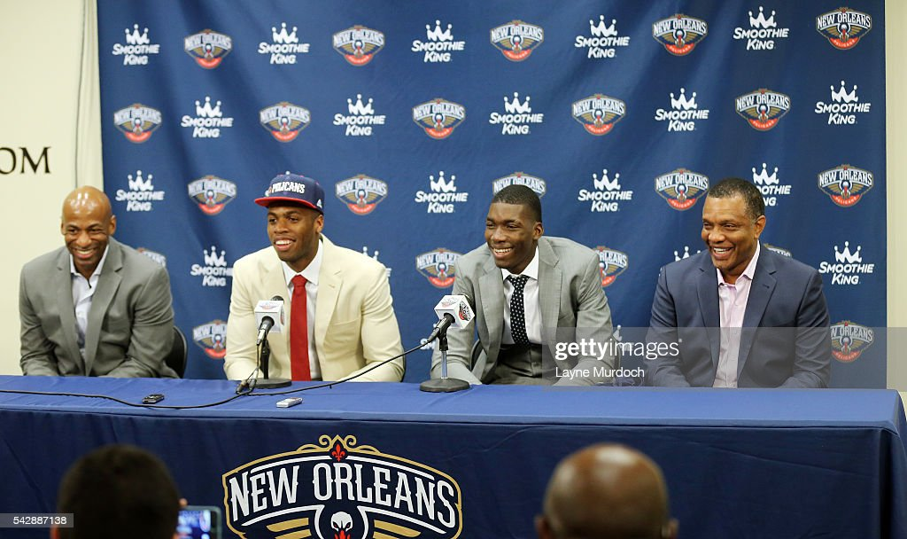 New Orleans Pelicans head coach <a gi-track='captionPersonalityLinkClicked' href=/galleries/search?phrase=Alvin+Gentry&family=editorial&specificpeople=650057 ng-click='$event.stopPropagation()'>Alvin Gentry</a> and Senior Vice President of Basketball Operations/General Manager <a gi-track='captionPersonalityLinkClicked' href=/galleries/search?phrase=Dell+Demps&family=editorial&specificpeople=2703058 ng-click='$event.stopPropagation()'>Dell Demps</a> introduce the team's 2016 Draft selections <a gi-track='captionPersonalityLinkClicked' href=/galleries/search?phrase=Buddy+Hield&family=editorial&specificpeople=9988395 ng-click='$event.stopPropagation()'>Buddy Hield</a> and <a gi-track='captionPersonalityLinkClicked' href=/galleries/search?phrase=Cheick+Diallo+-+Basketball+Player&family=editorial&specificpeople=14242656 ng-click='$event.stopPropagation()'>Cheick Diallo</a> on June 24, 2016 at the New Orleans Practice Facility in New Orleans, Louisiana.