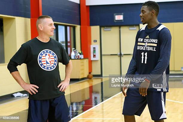 New Orleans Pelicans Jrue Holiday along with players and coaches host 20 local marines in celebration of NBA Hoops for Troops Week at their practice...