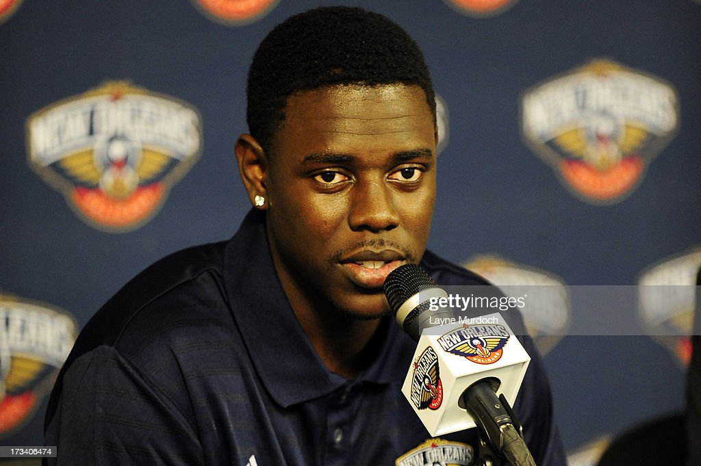 New Orleans Pelicans Jrue Holiday speaks to the media after being acquired in a trade on July 12 2013 at the New Orleans Pelicans practice facility...