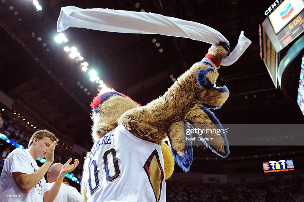 New Orleans Pelicans mascot Pierre the Pelican gets the crowd into the game against the Golden State Warriors Game Four of the Western Conference...