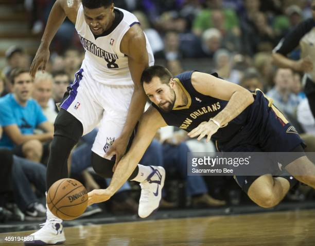 New Orleans Pelicans power forward Ryan Anderson beats Sacramento Kings small forward Rudy Gay to the ball during the second half at Sleep Train...
