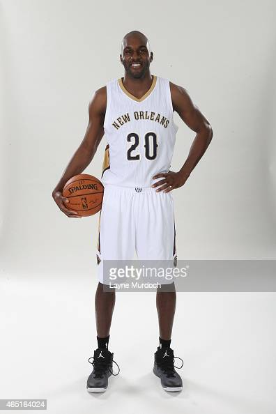 New Orleans Pelicans Quincy Pondexter poses for a portrait on February 26 2015 at the New Orleans Practice Facility in New Orleans Louisiana NOTE TO...