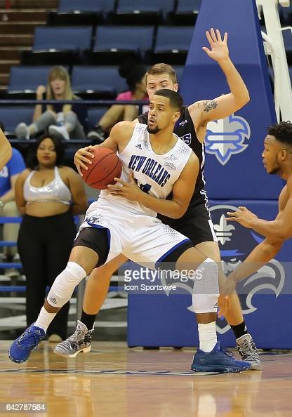 New Orleans Privateers forward Erik Thomas looks to pass the ball during a game between Central Arkansas and New Orleans on February 18 2017 at...