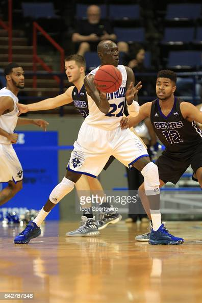 New Orleans Privateers forward Makur Puou passes the ball during a game between Central Arkansas and New Orleans on February 18 2017 at Lakefront...