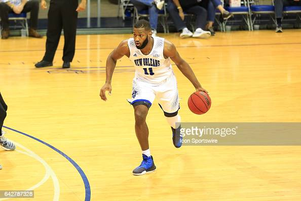 New Orleans Privateers guard Michael Zeno drives to the basket during a game between Central Arkansas and New Orleans on February 18 2017 at...