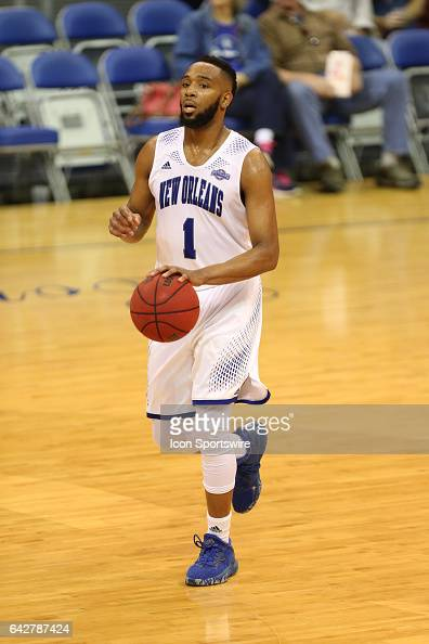 New Orleans Privateers guard Tevin Broyles brings the ball up court during a game between Central Arkansas and New Orleans on February 18 2017 at...