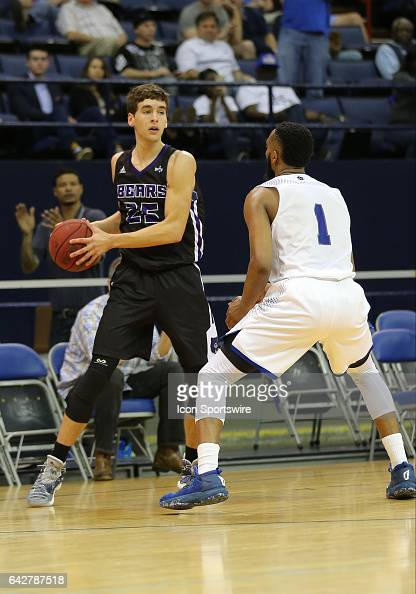 New Orleans Privateers guard Tevin Broyles defends Central Arkansas Bears guard Thatch Unruh as he looks to pass during a game between Central...