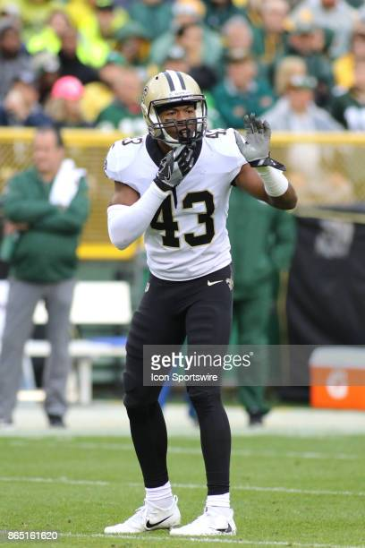 New Orleans Saints free safety Marcus Williams calls out an assignment during a game between the Green Bay Packers and the New Orleans Saints on...