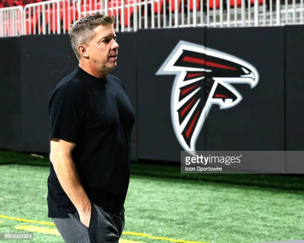 New Orleans Saints head coach Sean Payton walking off the field before the game against Atlanta Falcons and New Orleans Saints on December 07 2017 at...