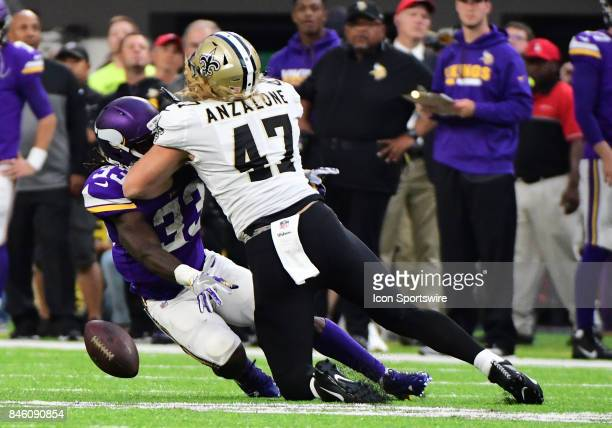 New Orleans Saints linebacker Alex Anzalone was called for an illegal hit to the head on the play on Minnesota Vikings running back Dalvin Cook...