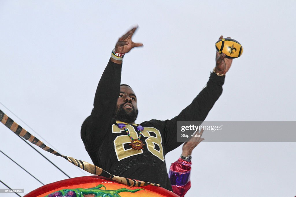 New Orleans Saints NFL Running Back Mark Ingram Jr rides in the 2013 Krewe of Bacchus Mardi Gras Parade on February 10, 2013 in New Orleans, Louisiana.