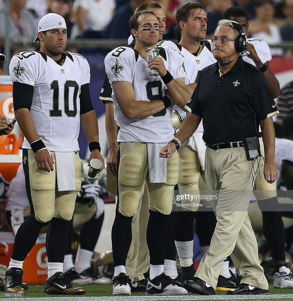 New Orleans Saints quarterback Chase Daniel New Orleans Saints quarterback Drew Brees and interim head coach Joe Vitt on the sidelines during the...