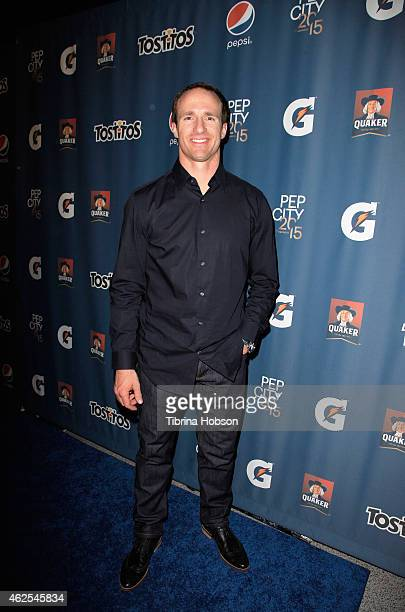 New Orleans Saints quarterback Drew Brees attends the Pepsi Rookie of The Year Party at Phoenix Art Museum on January 30 2015 in Phoenix Arizona