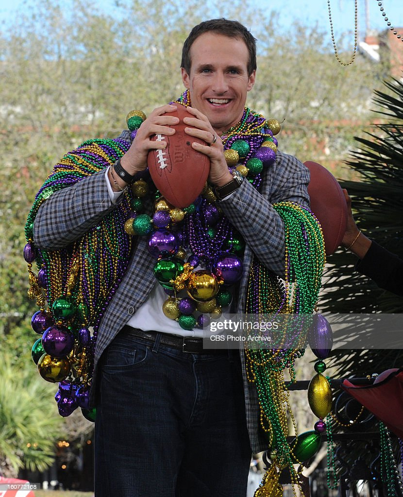 New Orleans Saints quarterback Drew Brees joins the ladies of THE TALK live on location in New Orleans as a special guest co-host, Friday, February 01, 2013. All week THE TALK broadcasts live from CBS Super Bowl Park at Jackson Square in the heart of the historic French Quarter in New Orleans leading up to Super Bowl XLVII airing on the CBS Television Network. Drew Brees, shown.