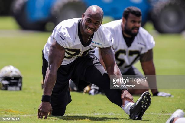 New Orleans Saints running back Adrian Peterson looks on in drills during team minicamp on June 15 2017 at New Orleans Saints Training Facility in...